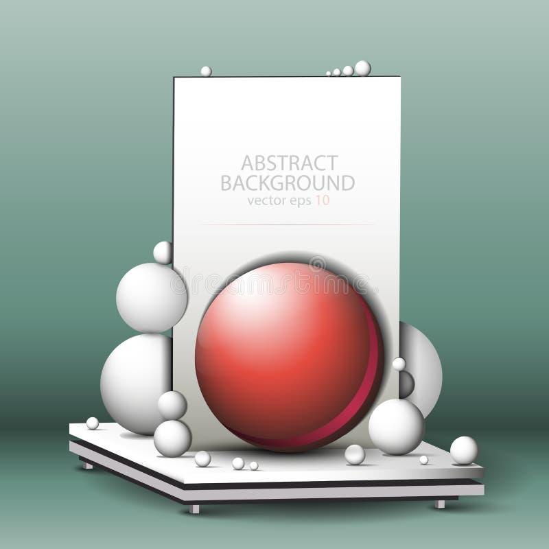 Abstracte geometrische 3d achtergrond - samenstelling, stilleven van witte en rode ballen op de lijstvector van Eps10 royalty-vrije illustratie