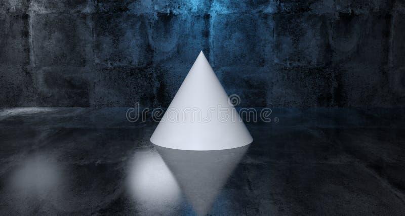Abstracte Geometrische Eenvoudige Primitieve Vorm Witte Kegel in Realisti vector illustratie
