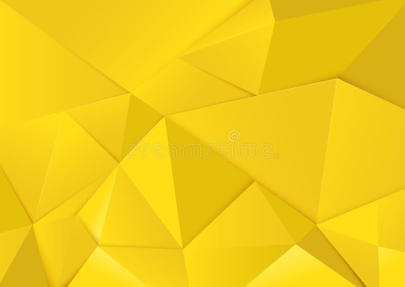 Abstracte geometrische gele toonveelhoek en driehoekenachtergrond royalty-vrije illustratie