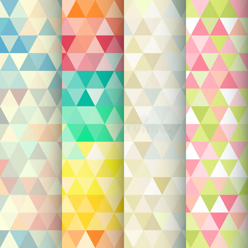 Abstracte geometrische geplaatste driehoeks naadloze patronen stock illustratie