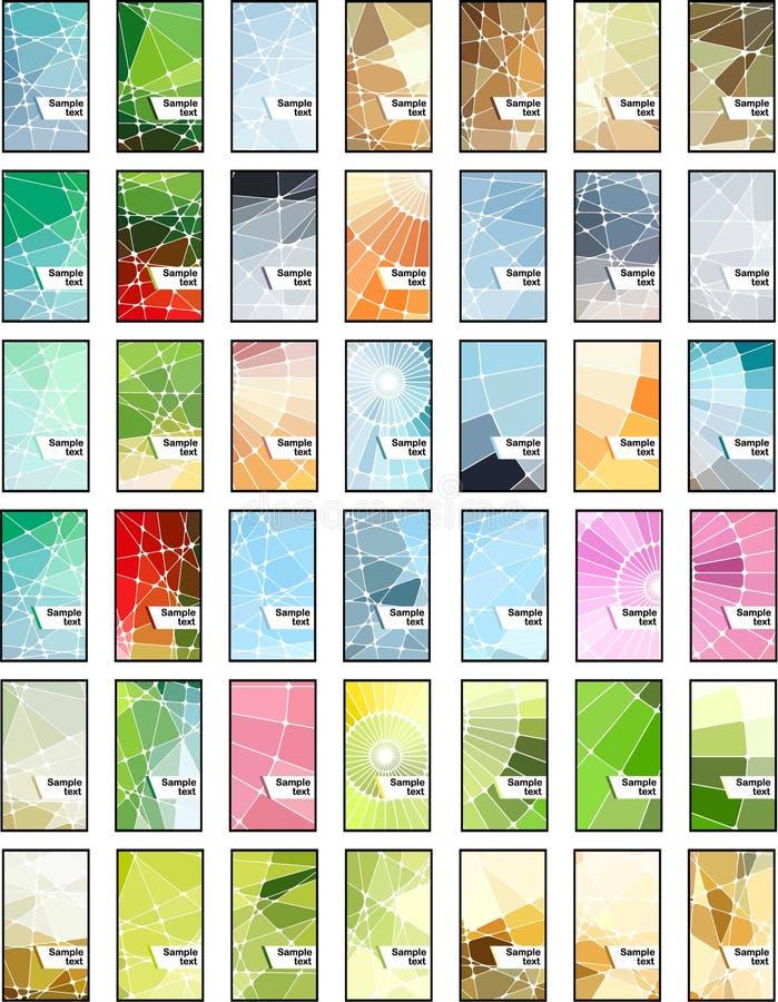 Abstracte geometrische geplaatste mozaïekadreskaartjes stock illustratie