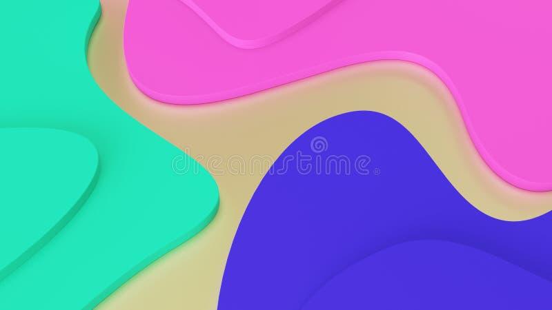 Abstracte geometrische golven als achtergrond van in kleuren groene, roze en blauwe stappen psychedelische werkelijkheid en paral royalty-vrije illustratie