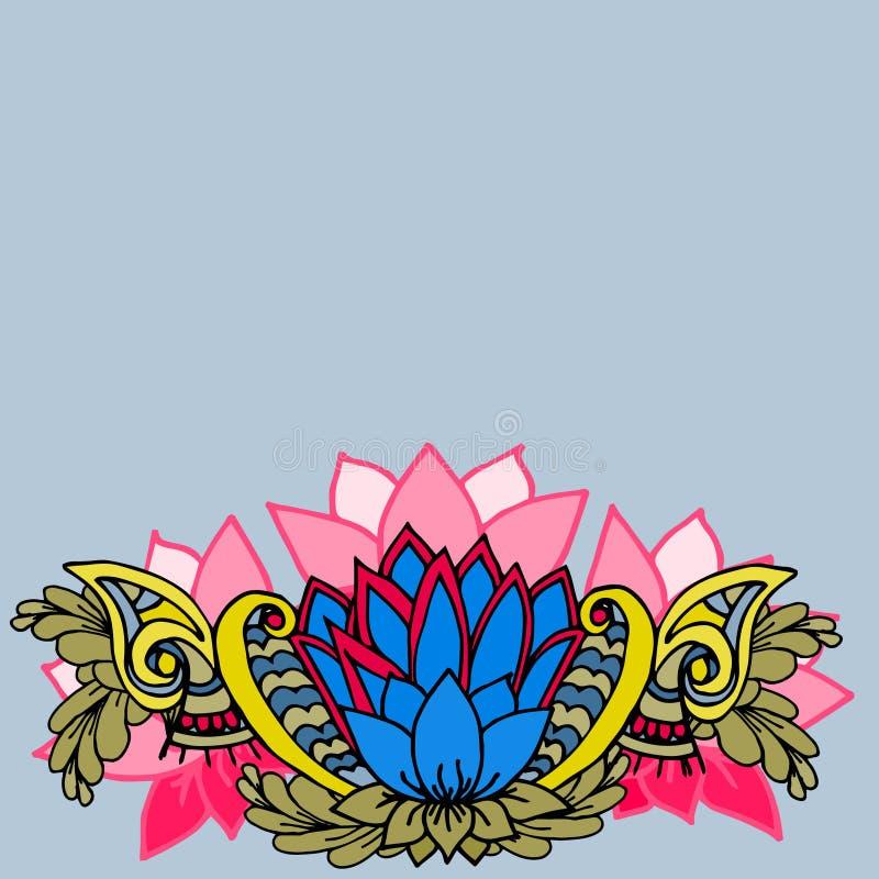 Abstracte geometrische grens van bladeren en bloemen op een blauwe achtergrond stock illustratie