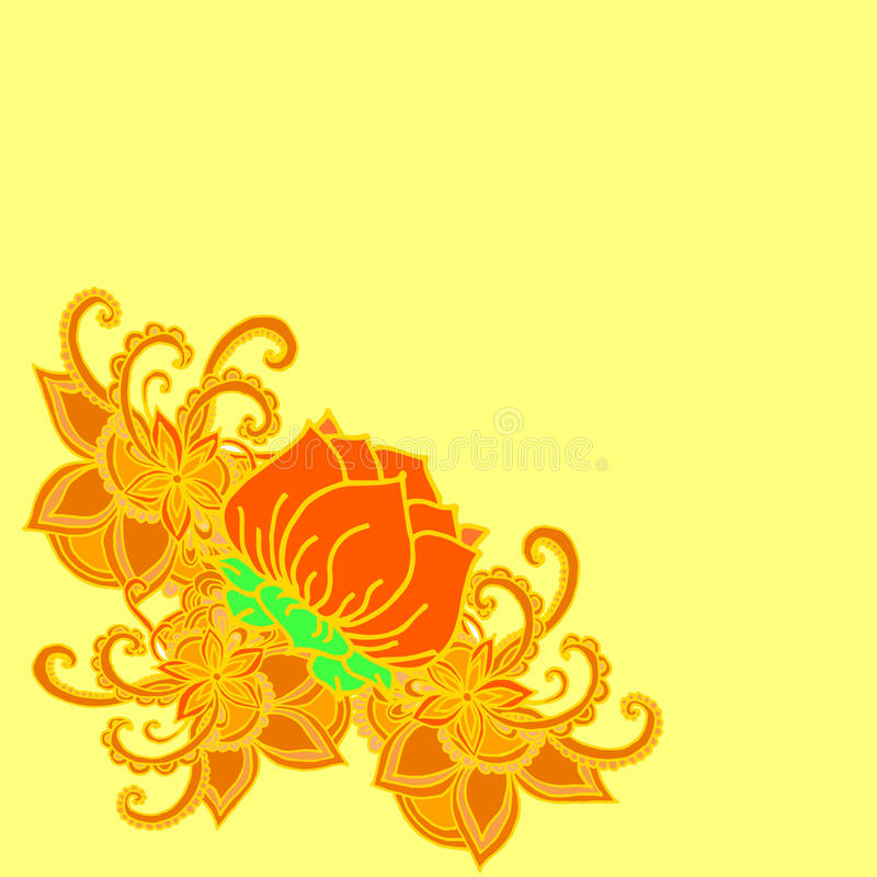 Abstracte geometrische grens van bladeren en bloemen op een gele achtergrond vector illustratie