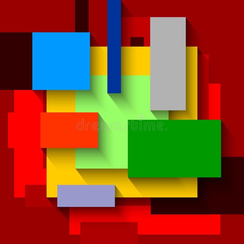 Abstracte Geometrische Kleurrijke Rechthoekenachtergrond Het malplaatje van het ontwerp royalty-vrije illustratie