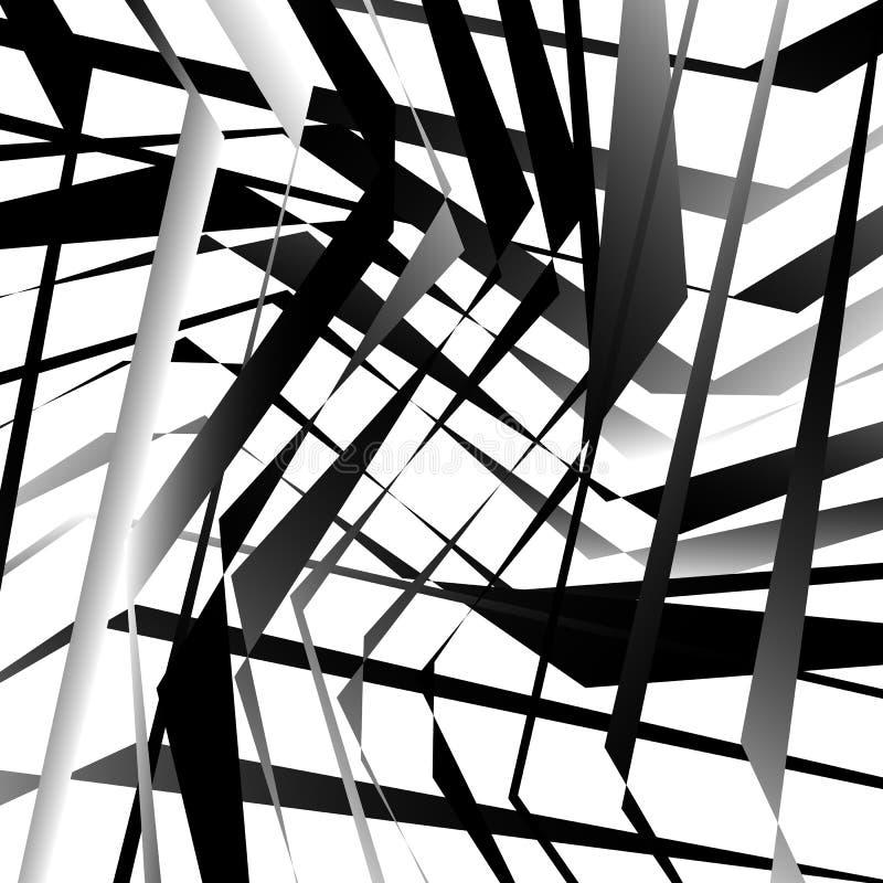 Abstracte geometrische kunst met gespannen, hoekige vormen Willekeurig orde stock illustratie