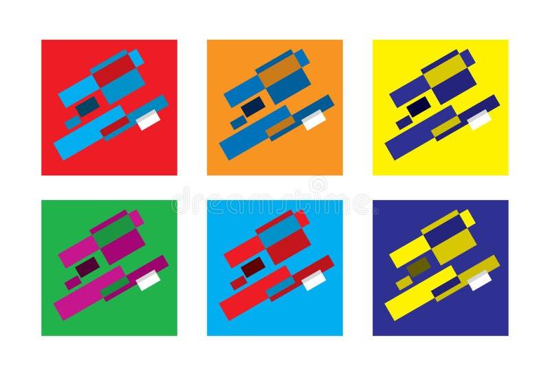 Abstracte geometrische modern versicolored combinaties, vlakke achtergrond, vectorreeks royalty-vrije illustratie