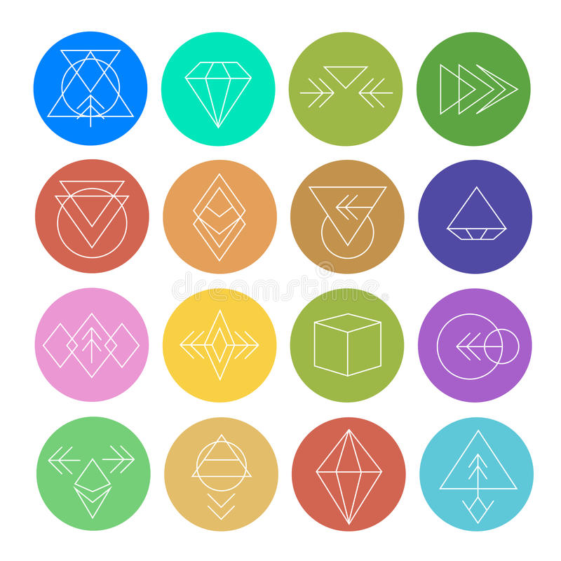 Abstracte Geometrische Patronen die met Hipster-Stijl worden geplaatst stock illustratie