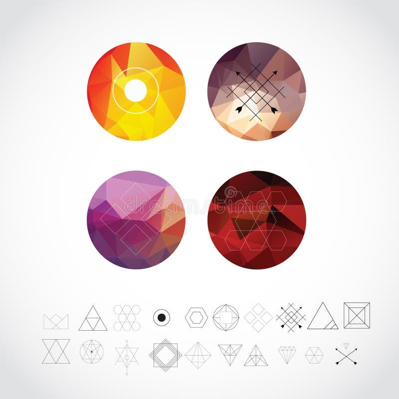 Abstracte Geometrische Patronen die met Hipster-Stijlpictogrammen worden geplaatst voor Logo Design Lijn Retro Tekens voor Logoty royalty-vrije illustratie