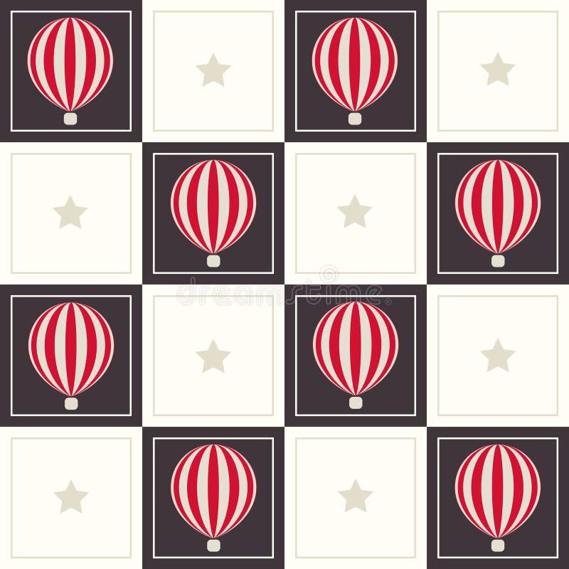 Abstracte Geometrische Patroonachtergrond met Dromerige Hete Luchtballons en Sterren vector illustratie