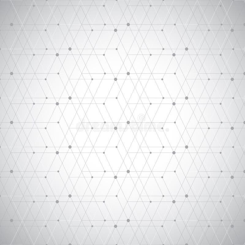 Abstracte geometrische patroonpunten in lijnen Naadloze grijze en witte textuur als achtergrond stock illustratie