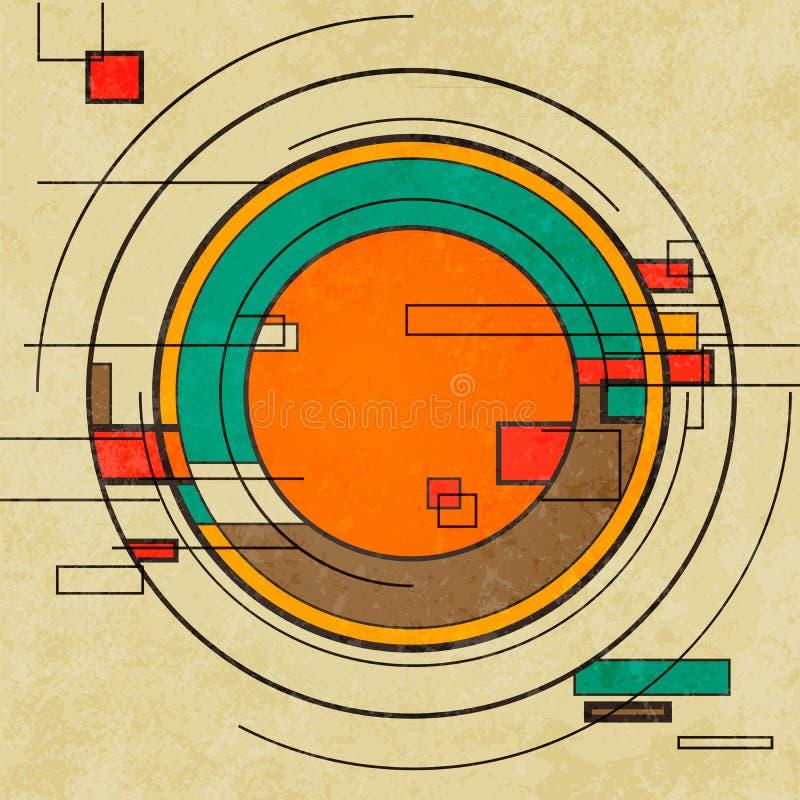 Abstracte geometrische retro kleurrijke achtergrond stock illustratie