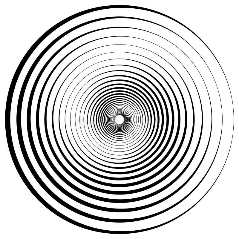 Abstracte geometrische spiraal, rimpelingen met cirkel, concentrische lijnen Vector het effect van de draaikolkwerveling diepte royalty-vrije illustratie