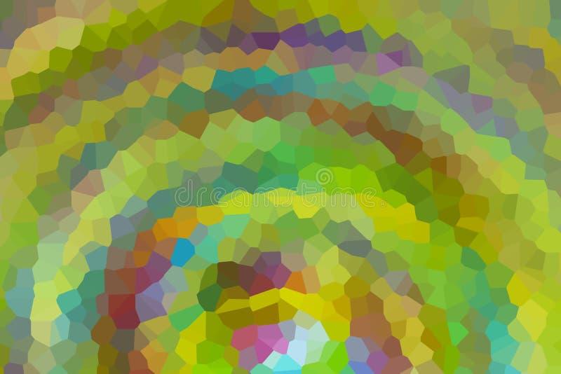 Abstracte geometrische van het de gradiëntmozaïek van de patroonboog groene gele kristallijne kleurrijke basis als achtergrond stock illustratie
