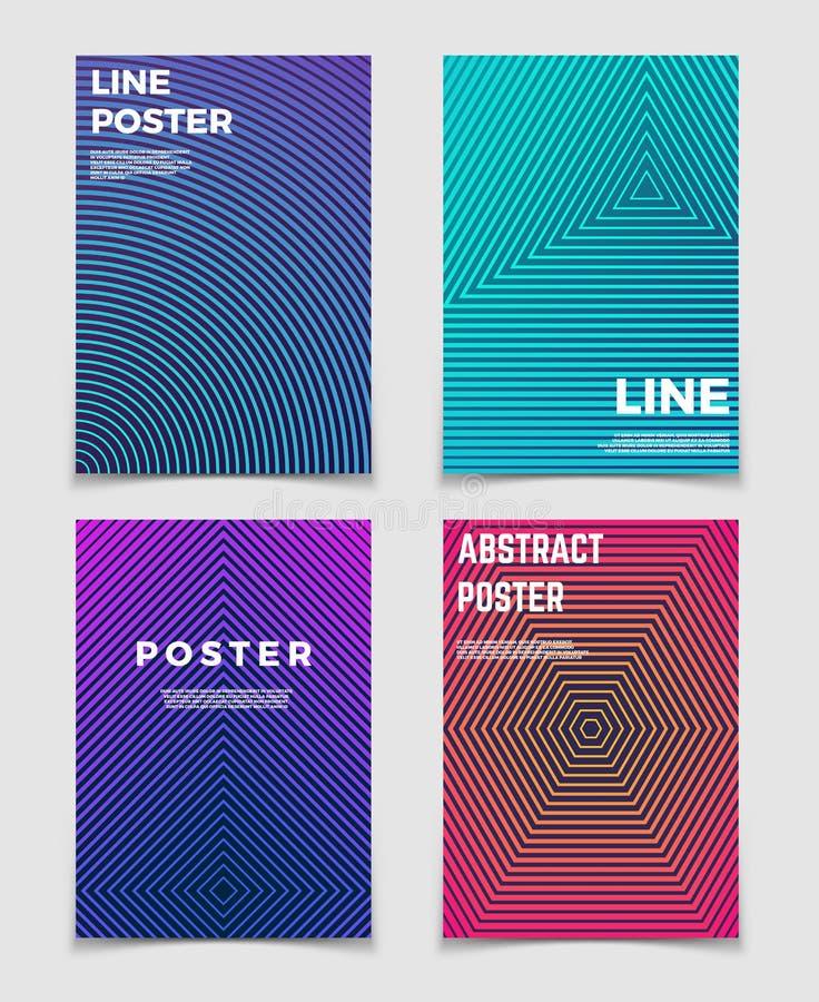 Abstracte geometrische vectorachtergronden met lijnpatronen Modern minimalistisch ontwerp voor affiches en boekdekking vector illustratie