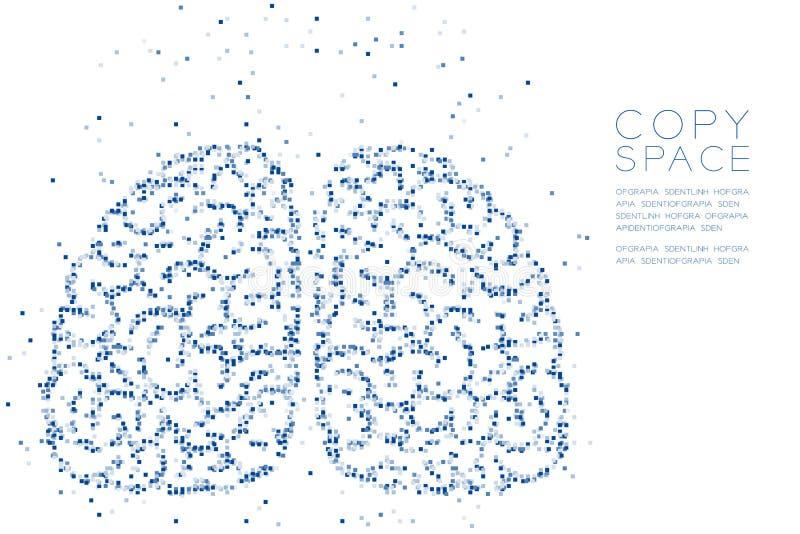 Abstracte Geometrische Vierkante van het patroonhersenen van het doospixel het vooraanzichtvorm, creatieve blauwe de kleurenillus stock illustratie