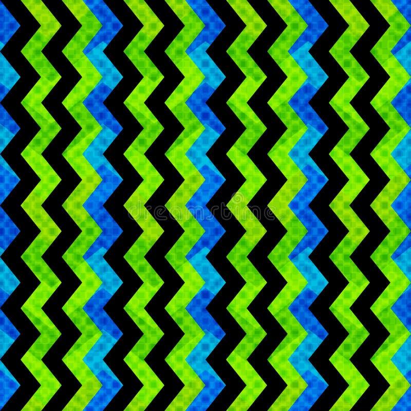 Abstracte geometrische voorwerpen op blauw achtergrond naadloos patroon grunge effect royalty-vrije illustratie