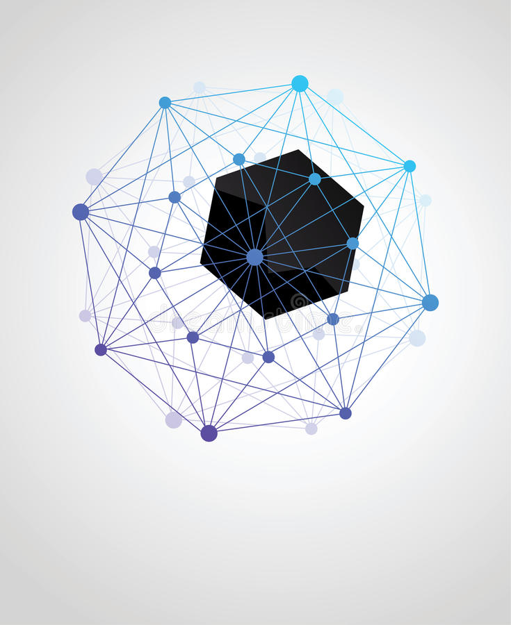 Abstracte geometrische vorm van moleculaire samenstellingen royalty-vrije illustratie