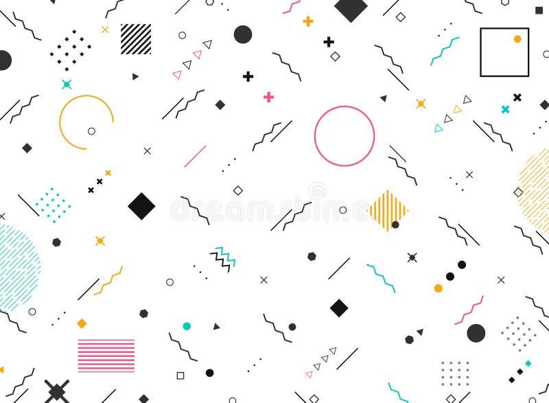 Abstracte geometrische vormen funky stijl van kleurrijke moderne patroonachtergrond U kunt voor modern ontwerp van nieuw elemente stock illustratie