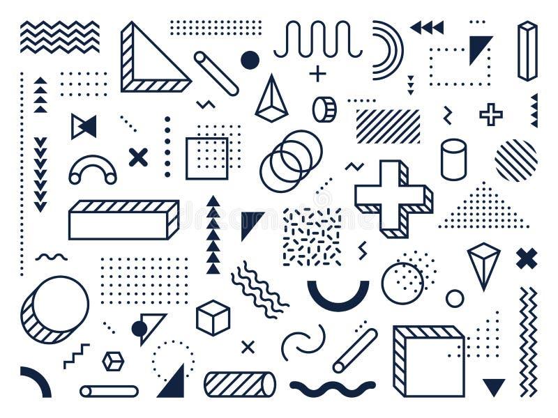 Abstracte geometrische vormen Omtrek, driehoek en kubus Trendy memphis stijlsymbolen, lijnen en puntenpatronen vector illustratie