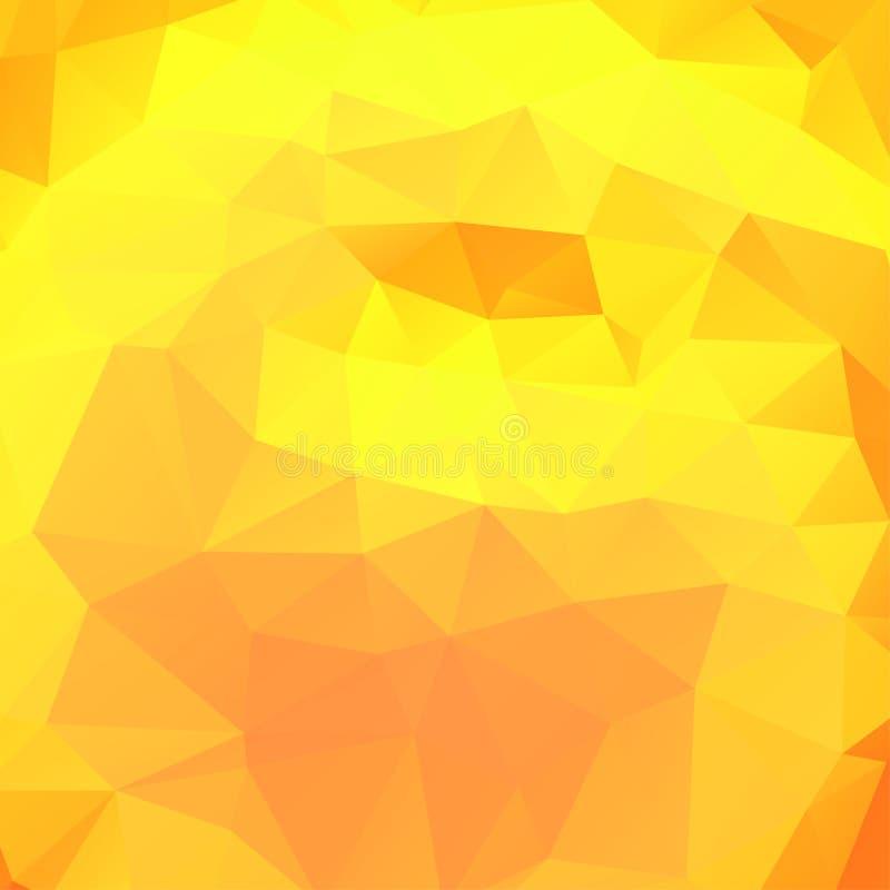Abstracte geometrische warme gele achtergrond van driehoekige veelhoeken Vector illustratie Retro heldere in patroon van de moza? vector illustratie