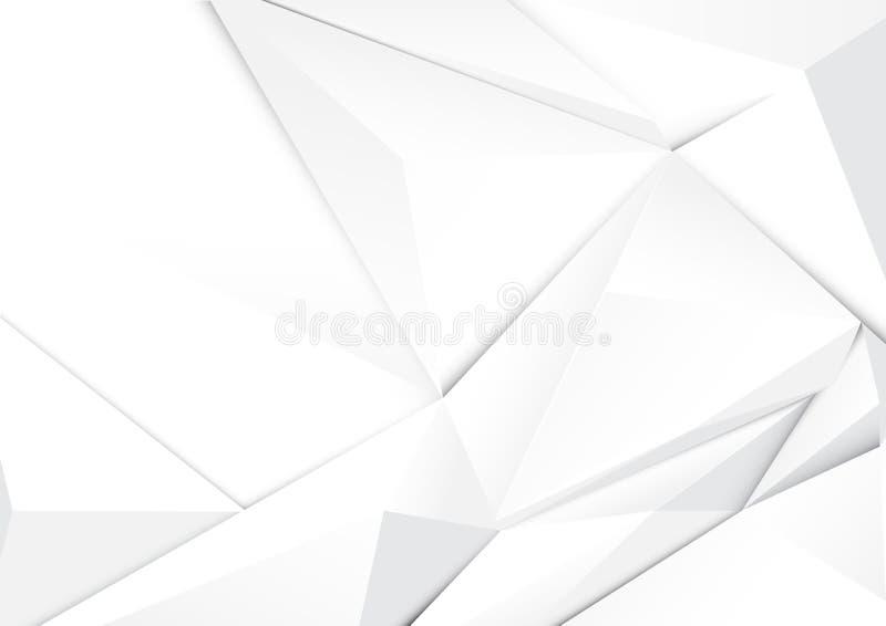 Abstracte geometrische witte toonveelhoek en achtergrond vector illustratie