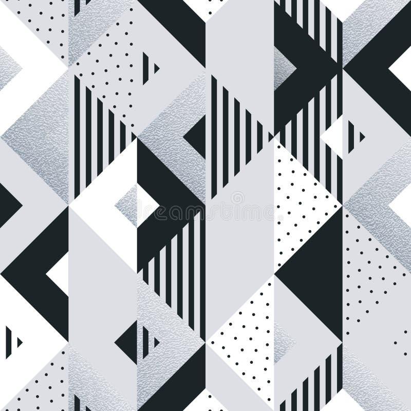 Abstracte geometrische zilveren patroonachtergrond van vierkant en driehoekselementen voor modern in ontwerpmalplaatje Vectormeet stock illustratie
