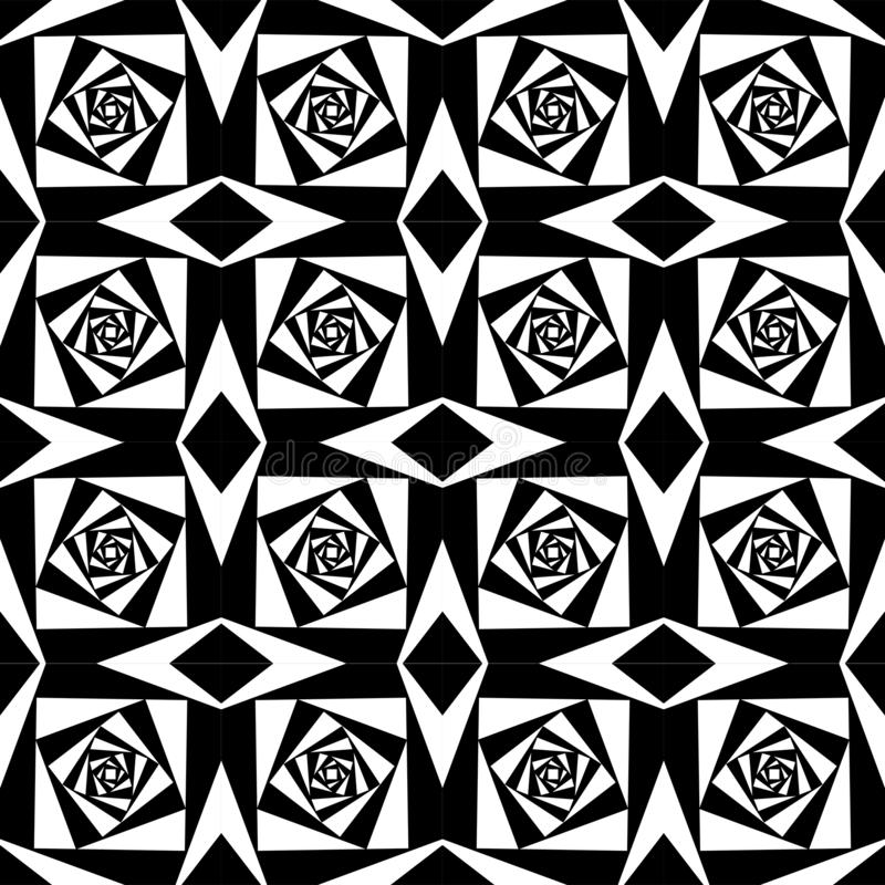 Abstracte Geometrische zwart-witte vierkante achtergrond royalty-vrije illustratie