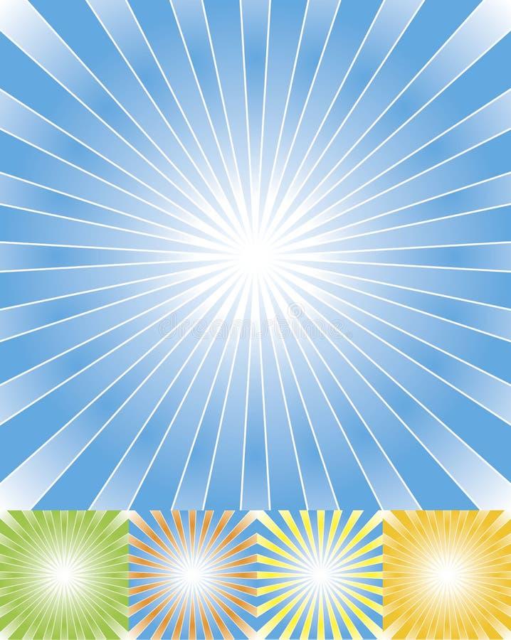 Abstracte geplaatste stralenachtergrond cmyk stock illustratie