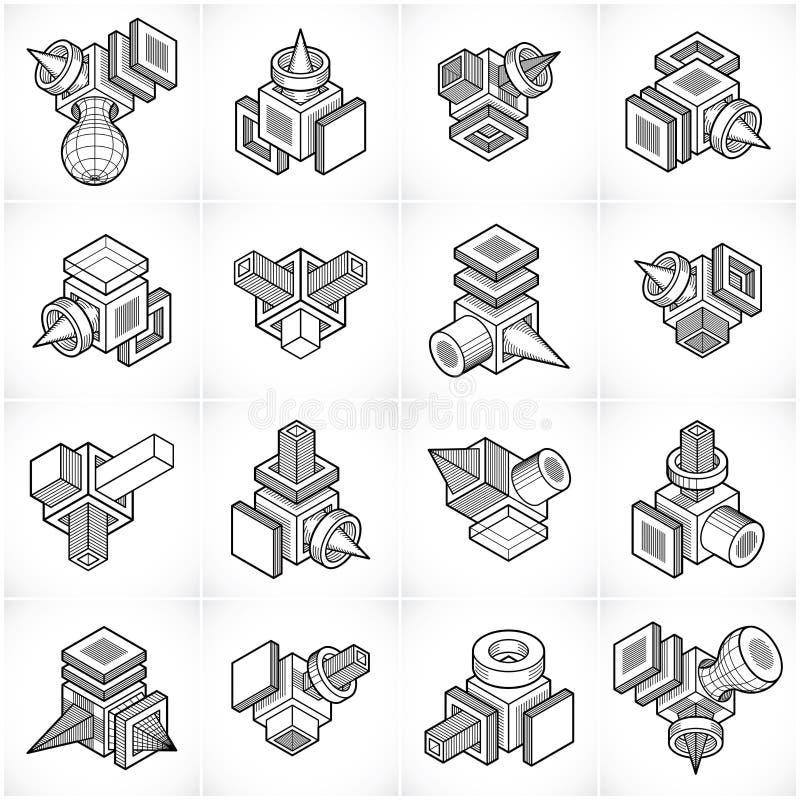 Abstracte geplaatste vectoren, isometrische dimensionale vormeninzameling stock illustratie