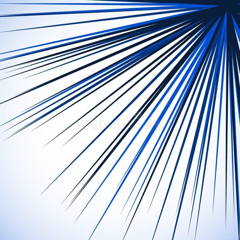 Abstracte gespannen grafisch met radiale lijnen die van hoek uitspreiden S vector illustratie