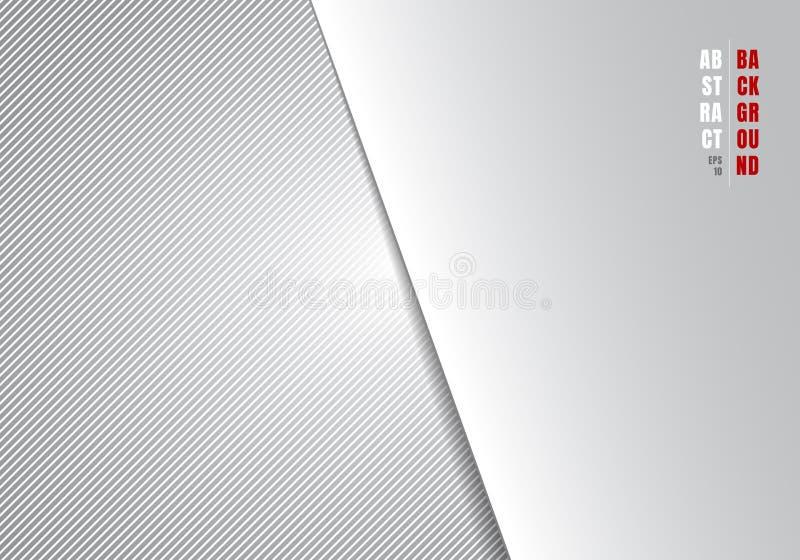 Abstracte gestreepte witte en grijze de gradi?ntachtergrond en textuur van malplaatje diagonale lijnen met verlichting en ruimte  vector illustratie