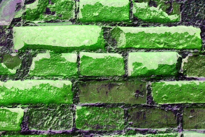 Abstracte geweven achtergrond: oud groen bakstenen muurpatroon stock foto