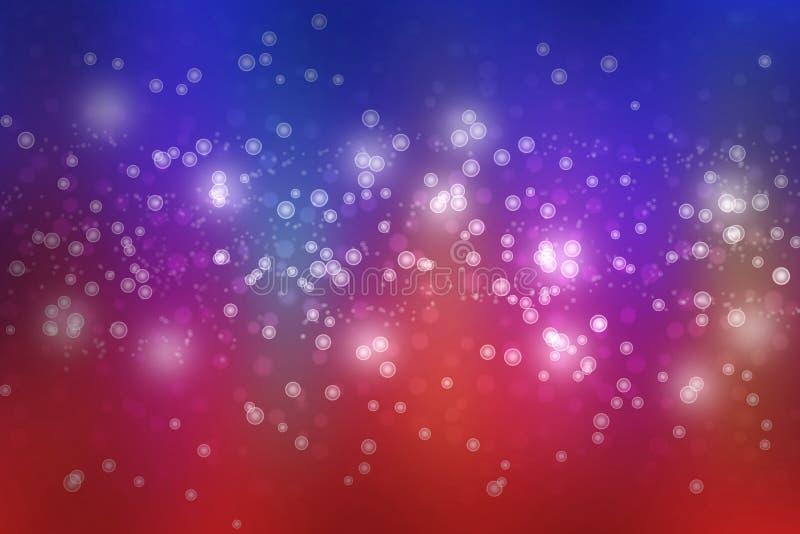Abstracte Glanzende Bellen en Bokeh op Rode en Blauwe Achtergrond royalty-vrije stock afbeeldingen