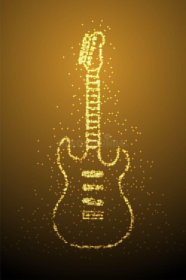 Abstracte Glanzende Bokeh-Elektrische de Gitaarvorm van het sterpatroon, illustratie van de het conceptontwerp de gouden die kleu royalty-vrije illustratie