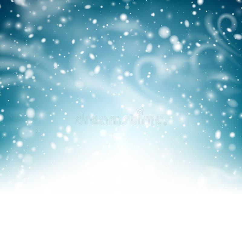 Abstracte glanzende de winteraffiche met sneeuw, wind en blizzard vector illustratie