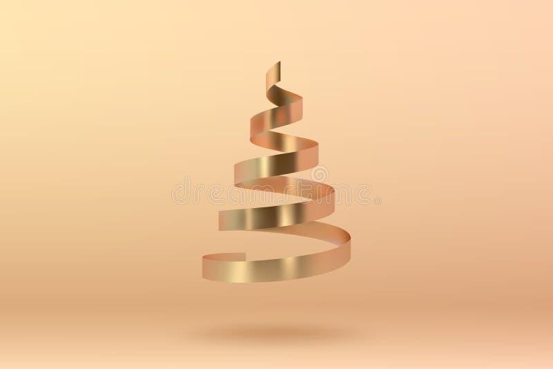 Abstracte glanzende spiraalvormige Kerstboom Gouden rol metaalribb stock illustratie
