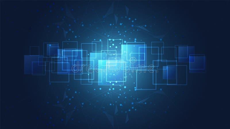 Abstracte globale technologie met de digitale achtergrond van de kringsraad stock illustratie