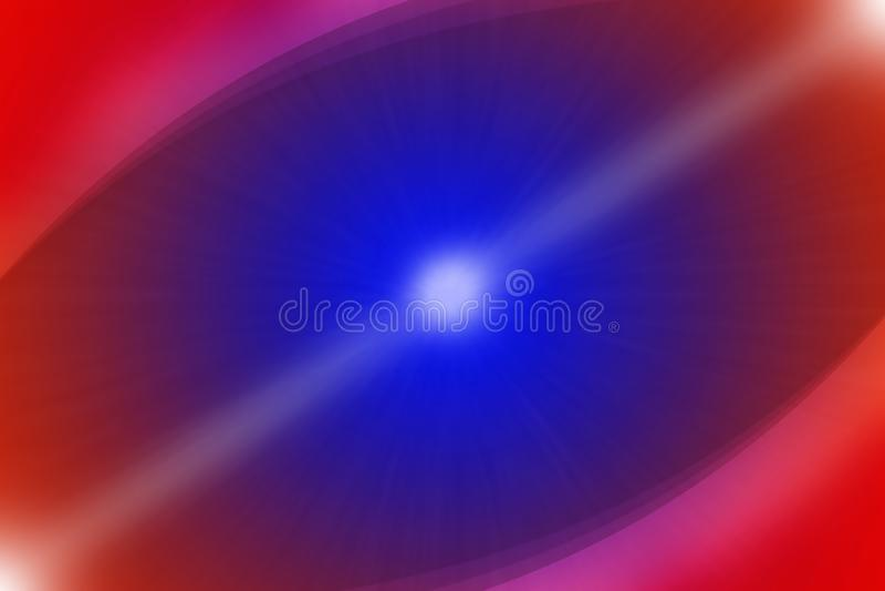 Abstracte Gloeiende Zon en Krommen op Blauwe en Rode Achtergrond royalty-vrije stock afbeeldingen