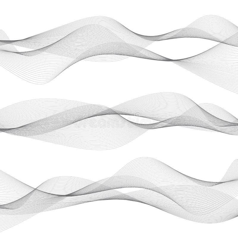 Abstracte golven, grijze lijnen op witte achtergrond royalty-vrije stock afbeelding