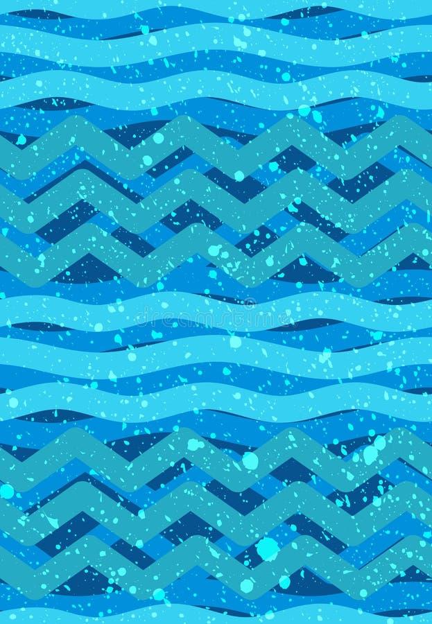 Abstracte golven naadloze Patronen - Zeevaart Overzees Thema royalty-vrije illustratie