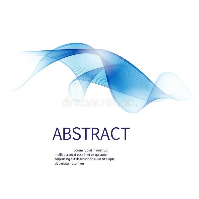 Abstracte golvenachtergrond in blauwe die kleur, op wit wordt geïsoleerd Kan voor vliegers en collectieve presentaties worden geb vector illustratie