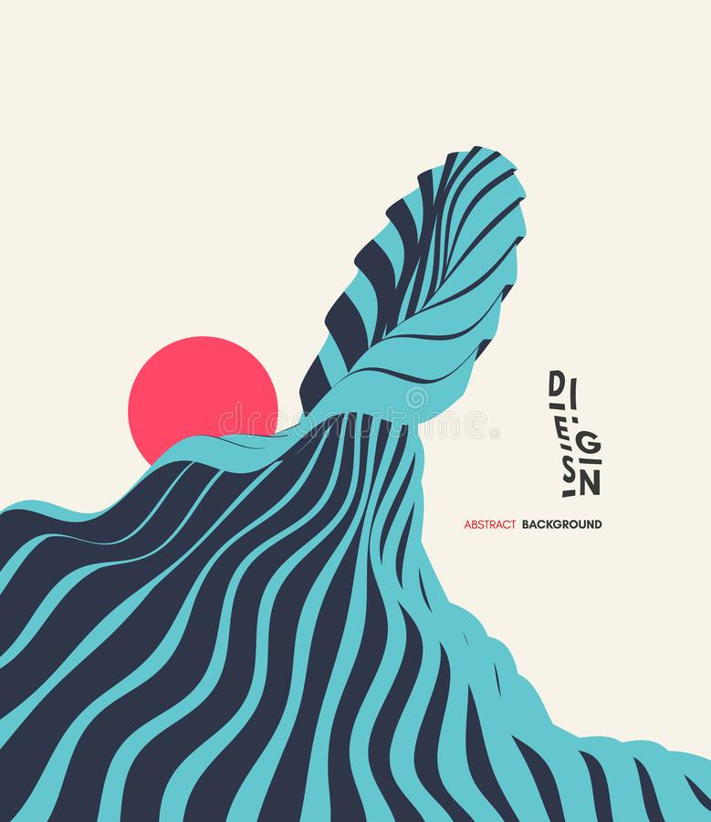 Abstracte golvende achtergrond Aziatische illustratie van oceaangolven en zon Het malplaatje van het dekkingsontwerp vector illustratie
