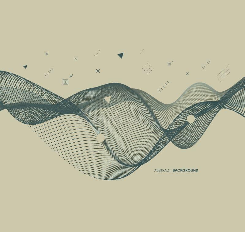 Abstracte golvende achtergrond voor banner, vlieger, boekdekking, affiche Dynamisch effect Vector illustratie Het malplaatje van  stock illustratie