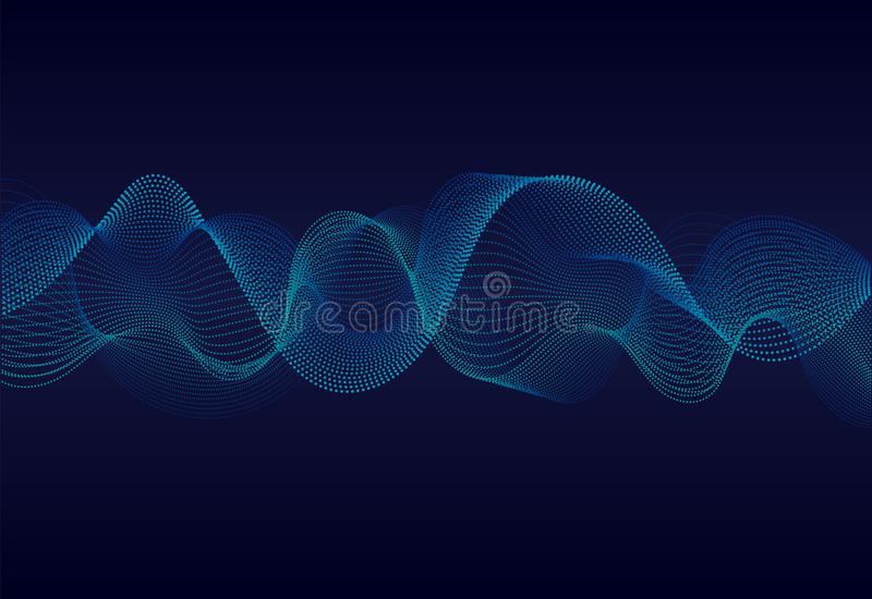 Abstracte golvende deeltjesoppervlakte op donkerblauwe achtergrond Soundwave van deeltjes Muziek abstracte achtergrond met 3d net vector illustratie