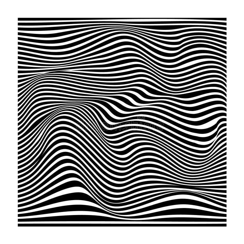 Abstracte golvende verdraaide vervormde lijn gestreepte zwart-witte textuur stock illustratie