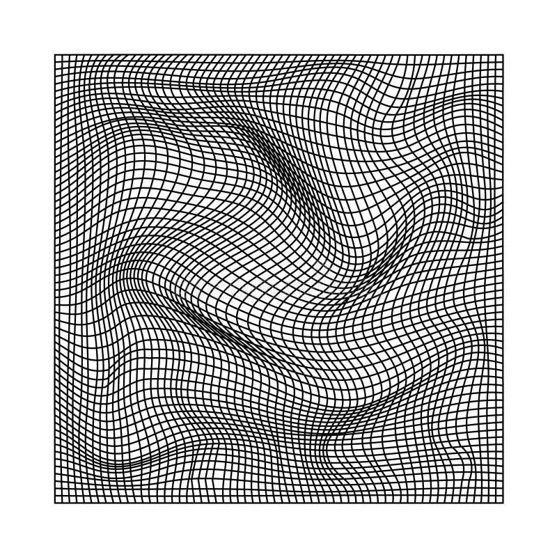 Abstracte golvende verdraaide vervormde lijnen netto zwart-witte textuur vector illustratie