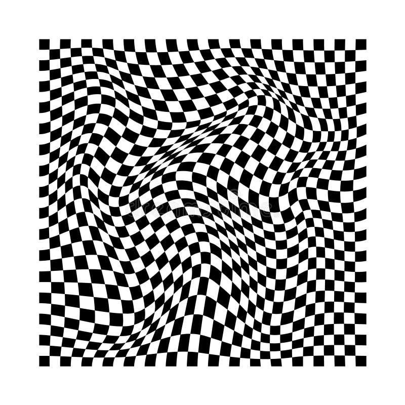 Abstracte golvende verdraaide vervormde vierkanten geruite zwart-witte textuur vector illustratie