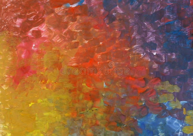 Abstracte gouachetextuur Rode, gele, blauwe en groene verfrug royalty-vrije illustratie
