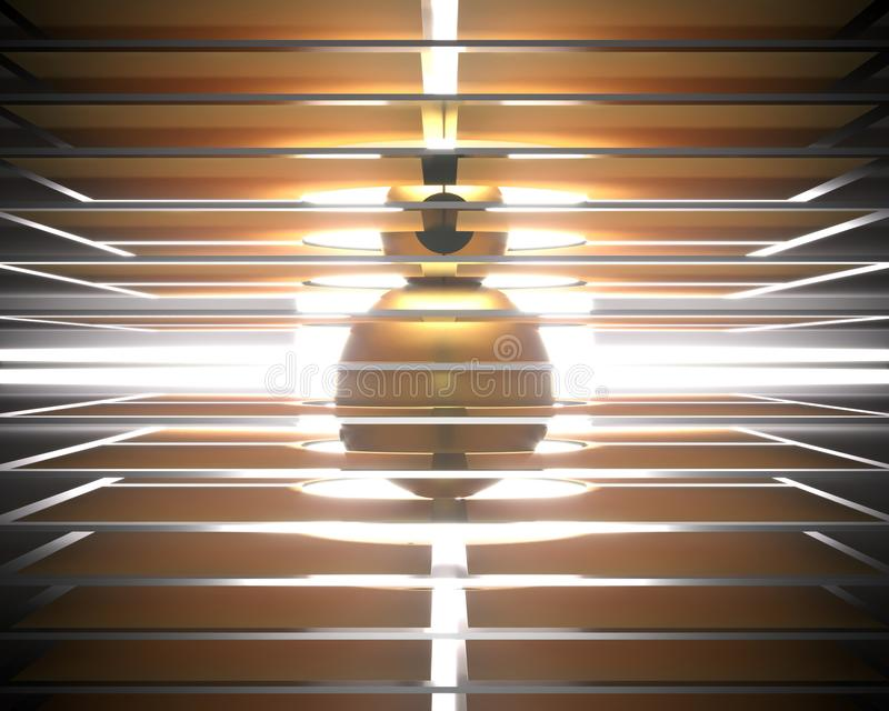 Abstracte gouden achtergrond met parallelle lichte lichtende lijnen stock illustratie